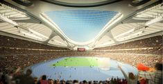 """Zaha Hadid - 2020 Olympic Games in Tokyo, Japan. A sketch of how the new National Stadium will look when the roof is not covered by what the Japan Sport Council calls a """"sound insulation device. 2020 Olympics, Tokyo Olympics, Green Architecture, Organic Architecture, Arata Isozaki, Zaha Hadid Design, Tokyo 2020, Tokyo Japan, National Stadium"""