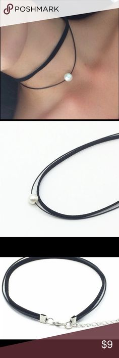 White Pearl Choker ♡ Cutest two layer white pearl choker for any occasion!  ♡ The first layer is a black faux suede material and the second layer with the pearl is a black cord material  ♡ Not a real pearl  ♡ Has an extension chain to accommodate to neck ♡ PRICE IS FIRM. ALL LOWER OFFERS WILL BE DENIED.  ♡ Selling it for cheaper ($6) on my boutique website which is angeliteboutique.storenvy.com Jewelry Necklaces