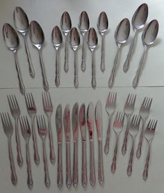 Vintage Ekco Eterna Mayflower Stainless Flatware 6 - 5 piece Place Settings {30 pcs} Knives, Dinner and Salad Forks, Teaspoons & Soup Spoons by RocktheJewels on Etsy