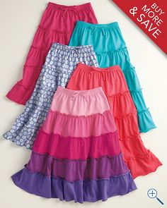 Tiered Knit Peasant Skirt - Girls