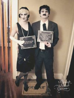 Silent film Halloween costume-- dress in black and white, and write dialogue on the card. Unexpected and cute costume you can DIY!
