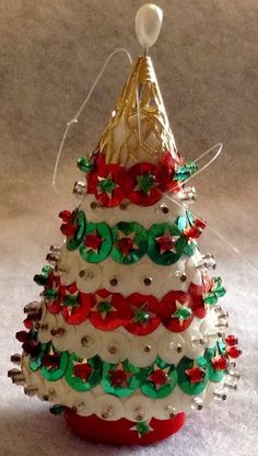 VINTAGE CHRISTMAS ORNAMENT UNBREAKABLE CHRISTMAS TREE FIGURAL BEADS SEQUINS FELT