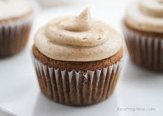 Snickerdoodle cupcakes ...super soft with a cinnamon cream cheese frosting.