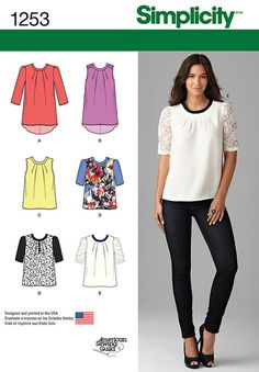 Description: Misses' Top with Length Variations    Misses' scoop neck top can have a shirtail hem in sleeveless or with three quarter sleeves. Blouse length top can be sleeveless or have half sleeves with contrast sleeve and trim options. Simplicity sewing pattern.