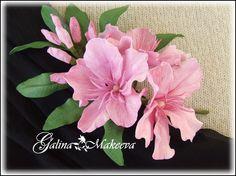 Ветка цветущего олеандра из фоамирана