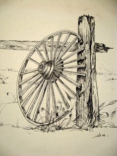 A ink sketch I did of a wagon wheel....this is a close up of a.larger drawing.