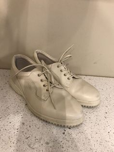 ECCO SOFT OXFORD Lace Up SHOES Ecru Ivory Leather WOMEN S SIZE 39 US 8 8.5   1b35533bc