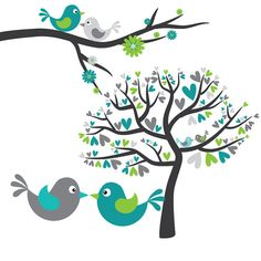 Love Birds in Grey, Turquoise and Lime Green - Digital Clip Art