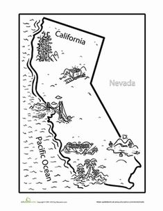 California coloring page and TONS more Science Social Studies