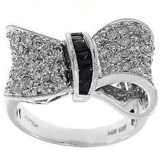 1.20 Cttw Round Diamonds and Blue Princess Sapphire Cocktail Bow Ring in 14K…