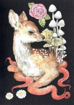 Higuchi Yuko Postcard Book Collage Drawing, Sketch Painting, Creepy Art, Weird Art, Art Journal Inspiration, Art Inspo, Mushroom Pictures, Trippy Painting, Postcard Book