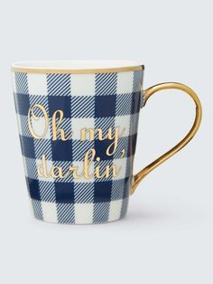 "Draper James - the new feminine romantic fashion line by Reese Witherspoon. Modern style with a classic touch. SPRING & SUMMER FASHION TRENDS 2017! Beautiful clothing .  Great gift items. Gingham mug with gold detail ""Oh my Darlin'"""