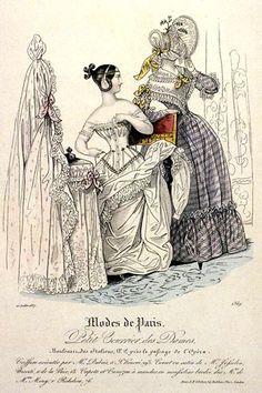 Modes de Paris, Fashion Plate, showing a woman wearing a corset (1830).
