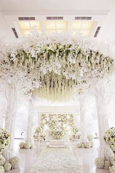 White wedding pomanders, luxurious white floral mandap, Indian wedding decor