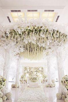 White wedding pomanders, luxurious white floral mandap, Indian wedding decor
