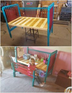 If your kid is not liking to do their drawing work on table then you can do the best idea to arrange a pallet bed for them. This wood pallet bed is designed in simple styles as broad in length. Without any hard efforts, your kid can place their books and stationary equipments.