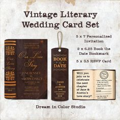 Customized Vintage Literary Wedding Card Set - includes Invitation, Book the Date bookmark, and RSVP card - by dreamincolorstudio on Etsy, $25.00