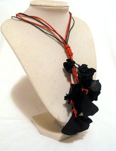 40 percent OFF SALE Statement leather necklace by julishland, $10.80