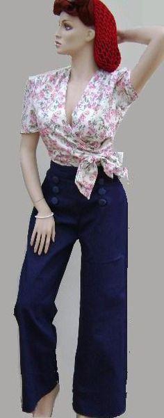 40s high waist pants - Big Beautiful Barbara Brown
