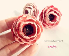 Ombre pink paper flower ring made by @Elena Navarro ~ Treeoflove