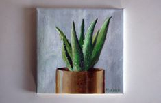 original acrylic painting, cactus painting, eclectic interior, tiny painting, small painting, acrylics on canvas, boho art