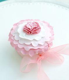 Flat Pink & White Ruffle Cupcake