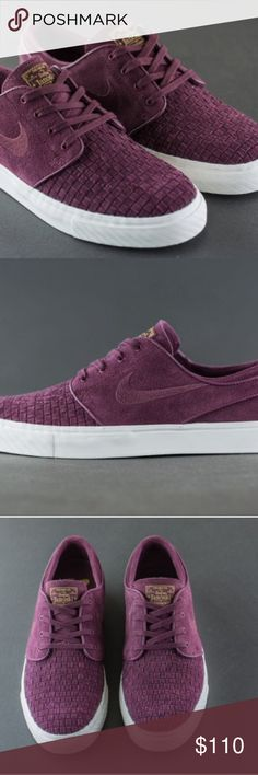 NIKE FOR MEN: Stefan janoski burgendy NIKE SB SZ13 Nike sb size 13 zoom air with woven toe. Burgundy & white with gold lettering on tongue NEW WITHOUT BOX Nike Shoes Sneakers