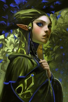 Pretty, in a mythical way.  Blue leaf elf by medders on deviantART via PinCG.com
