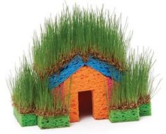 Little Grass House - This cottage sprouts up from four kitchen sponges and a handful of grass seed, with no glue required!