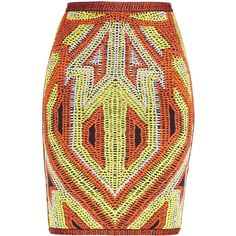 Herve Leger Ola Geometric Jacquard Skirt ($1,040) ❤ liked on Polyvore featuring skirts, geometric skirt, red bandage skirt, knee length pencil skirt, colorful skirts and multi color skirt