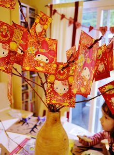 Chinese New Year red envelope money tree