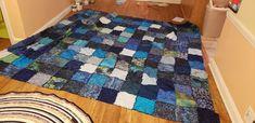 King size Rag Quilt, Quilts, Family Crafts, King Size, Blanket, Blue, Quilt Sets, Quilt, Rug