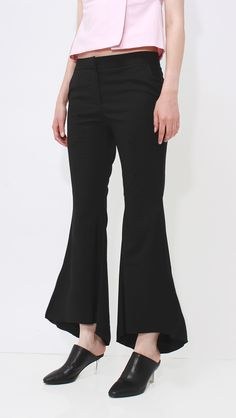 Chouette Pants, a lightweight in Black. Features wide-leg, flattering bell shape flared hemline, particularly long in length, zip fastening along side, mid-rise