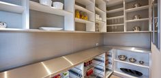 Pantry shelves along the bottom with slide out racks