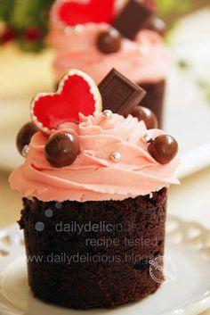 Chocolate Strawberry Valentine Cupcake with Strawberry Mascarpone