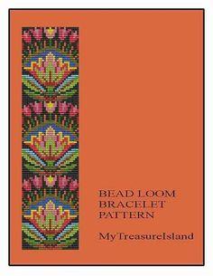 Bead Loom Folk Art Flowers Motif 1 Bracelet Pattern Chart PDF on Etsy, $5.00