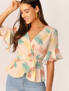 To find out about the Flounce Sleeve Surplice Wrap Self Belted Top at SHEIN, par. - To find out about the Flounce Sleeve Surplice Wrap Self Belted Top at SHEIN, part of our latest Blo - Blouse Styles, Blouse Designs, Trend Fashion, Fashion Outfits, Gothic Mode, Diy Vetement, Summer Blouses, Dressy Tops, Mode Hijab
