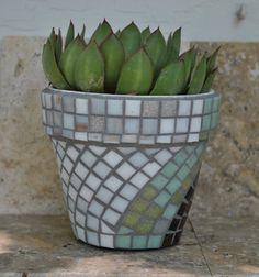 Tile Mosaic Flower Pot White Seafoam Green by midcenturymosaics, $20.00