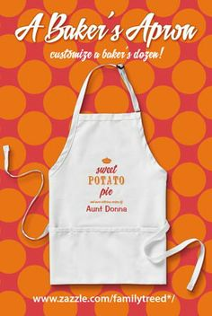 Create customized Sweet Potato Pie aprons - add a name to the bottom of this design. Easy and sweet!