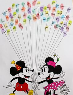 Hand Drawn Ink Guest Book Art: Birthday Mickey Mouse and Minnie Mouse with Balloons via Etsy