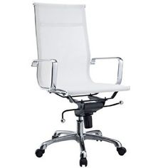 LexMod Regis All-White Mesh High Back Conference Office Chair