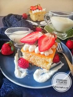 Strawberries & Cream Tres Leches Cake recipe by Ruhana Ebrahim Fun Easy Recipes, Easy Meals, Tres Leches Cake, Sifted Flour, Egg Whisk, Fresh Cream, Vanilla Essence, Food Categories, Strawberry Jam