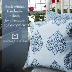 Block printed cushion covers,