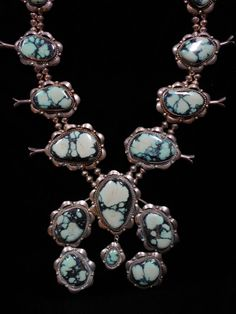 OLD PAWN Silver and Turquoise Squash Blossom Necklace Landers MASSIVE  *G102