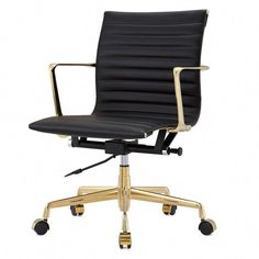 Office Chair in Aniline Leather Gold and Black (Black/Gold) Leather Bean Bag Chair, Leather Chair With Ottoman, Office Chairs Online, Executive Office Chairs, Wooden Dining Room Chairs, Outdoor Dining Chairs, Adirondack Chairs, Outdoor Lounge, Chair Upholstery