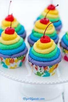 Rainbow cupcakes with cream