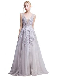 3e40862d3e6 online shopping for Babyonlinedress Babyonline Women s Double V-neck Tulle  Appliques Long Evening Cocktail Gowns from top store. See new offer for ...