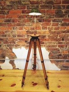 The Surveyor / Wooden Tripod Floor Lamp / Task / Architectural / Transit / Steampunk / Reclaimed