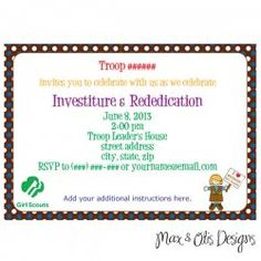 Girl Scout Brownie Investiture and Rededication Ceremony Invitation - printable pdf with editable fields.