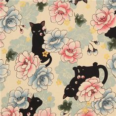 beige Asia flower cat fabric with gold metallic print from Japan 1